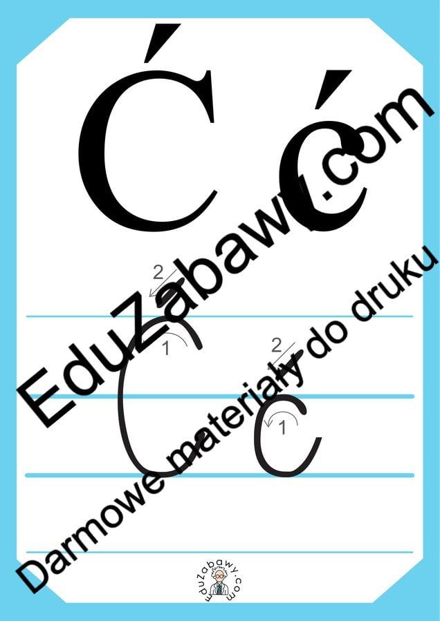 Plansza edukacyjna: litera Ć z kierunkiem pisania Alfabet (Nauka pisania) Nauka pisania Nauka pisania litery Ć