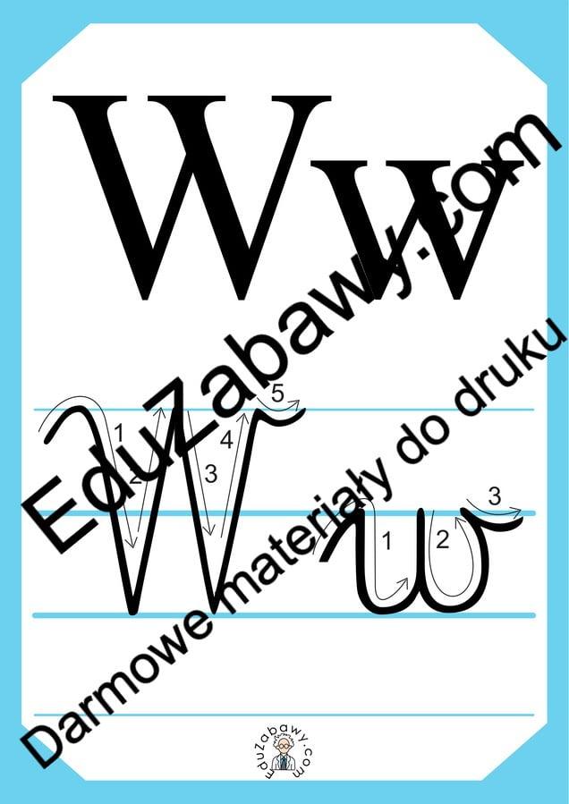 Plansza edukacyjna: litera W z kierunkiem pisania Alfabet (Nauka pisania) Nauka pisania Nauka pisania litery W