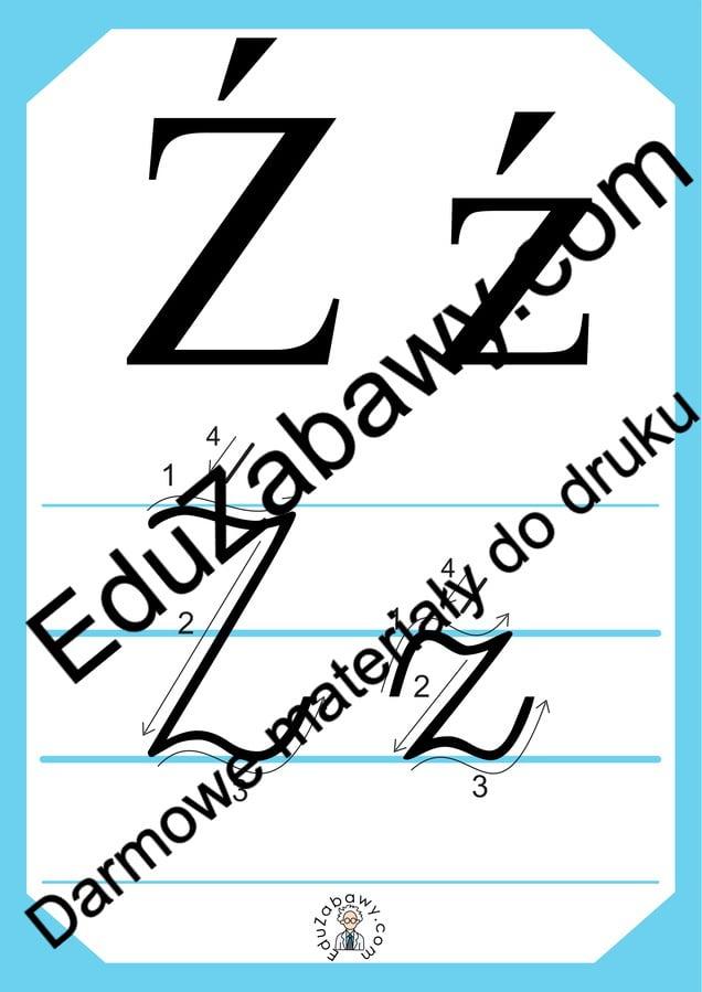 Plansza edukacyjna: litera Ź z kierunkiem pisania Alfabet (Nauka pisania) Nauka pisania Nauka pisania litery Ź