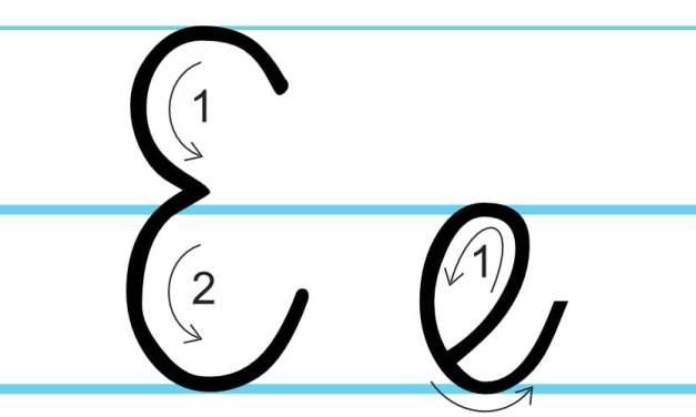 Plansza edukacyjna: litera E z kierunkiem pisania