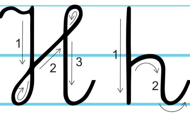 Plansza edukacyjna: litera H z kierunkiem pisania