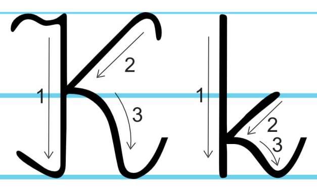 Plansza edukacyjna: litera K z kierunkiem pisania