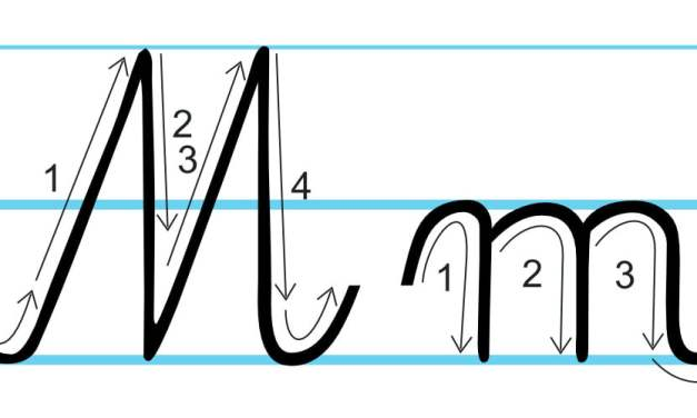 Plansza edukacyjna: litera M z kierunkiem pisania