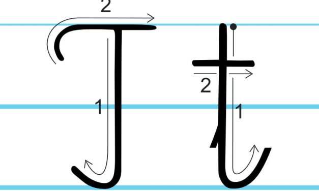Plansza edukacyjna: litera T z kierunkiem pisania