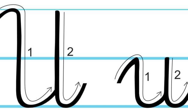 Plansza edukacyjna: litera U z kierunkiem pisania