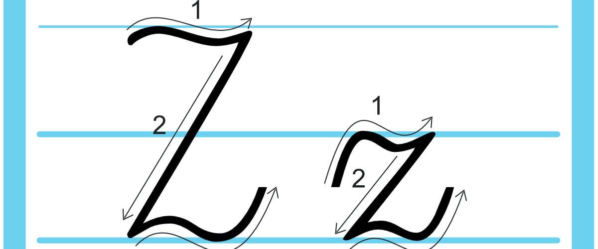 Plansza edukacyjna: litera Z z kierunkiem pisania