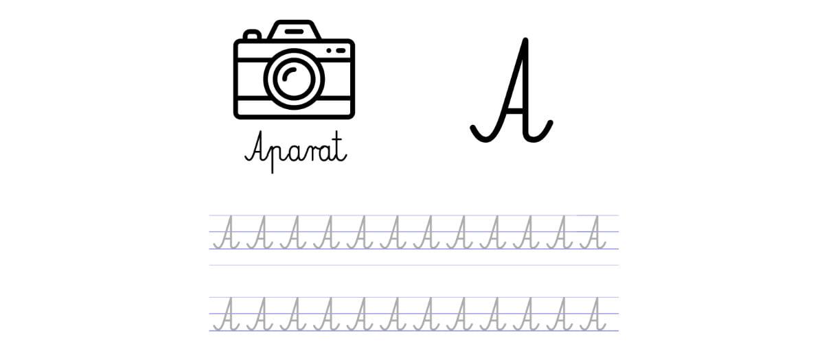 Pisanie po śladzie w liniaturze: Litera A (3 karty pracy)
