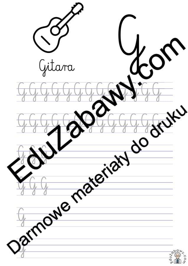 Pisanie po śladzie w liniaturze: Litera G (3 karty pracy) Alfabet (Nauka pisania) Nauka pisania Nauka pisania litery G