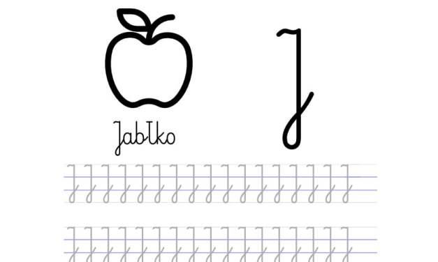 Pisanie po śladzie w liniaturze: Litera J (3 karty pracy)