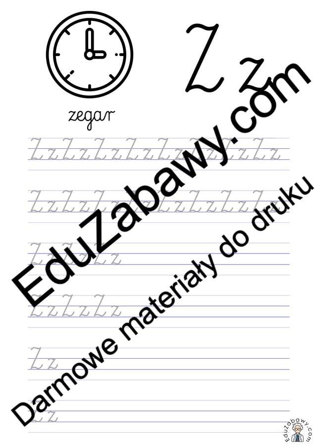 Pisanie po śladzie w liniaturze: Litera Z (3 karty pracy) Alfabet (Nauka pisania) Nauka pisania Nauka pisania litery Z