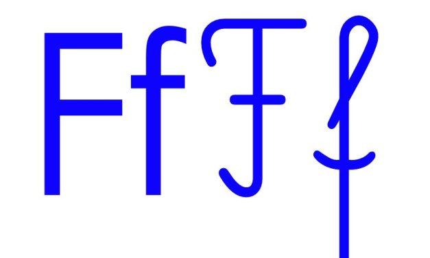 Niebieska spółgłoska F do alfabetu szorstkiego