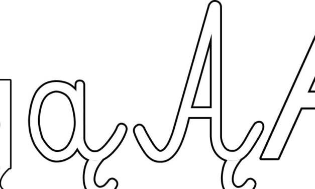 Kontury litery Ą pisane i drukowane (4 szablony)