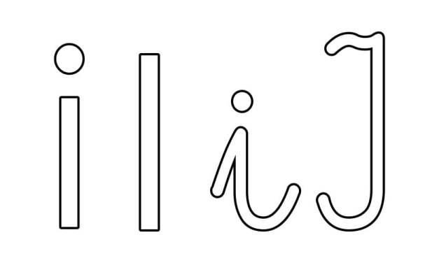 Kontury litery I pisane i drukowane (4 szablony)