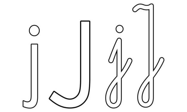 Nauka pisania litery J, karty pracy dla przedszkolaków, uczniów do druku