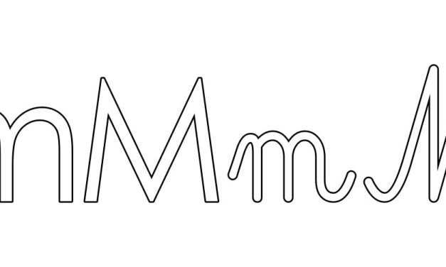 Kontury litery M pisane i drukowane (4 szablony)