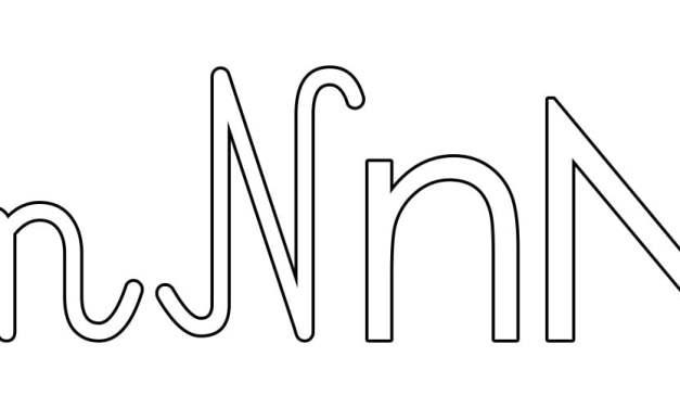Kontury litery N pisane i drukowane (4 szablony)