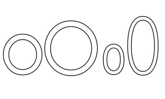 Kontury litery O pisane i drukowane (4 szablony)
