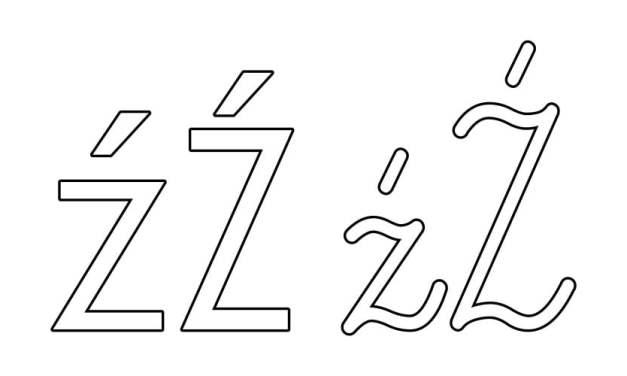 Kontury litery Ź pisane i drukowane (4 szablony)