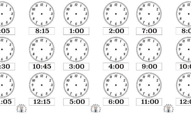 Nauka zegara – dorysuj wskazówki – wersja czarno biała