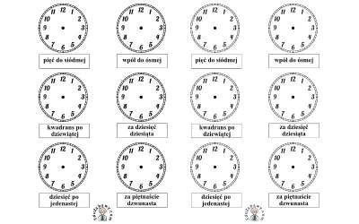 Nauka zegara – dorysuj wskazówki wg podpisów