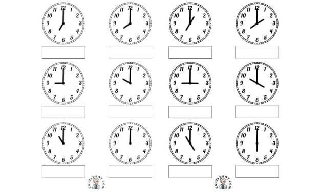 Pod każdym z zegarów zapisz godzinę, którą wskazuje
