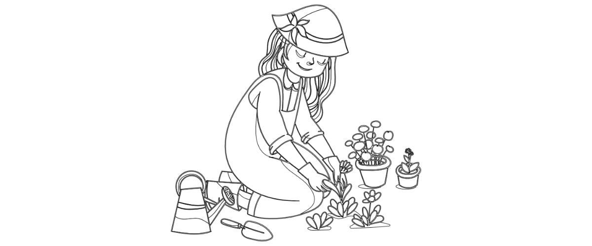 Kolorowanki: Prace w ogrodzie (10 szablonów)