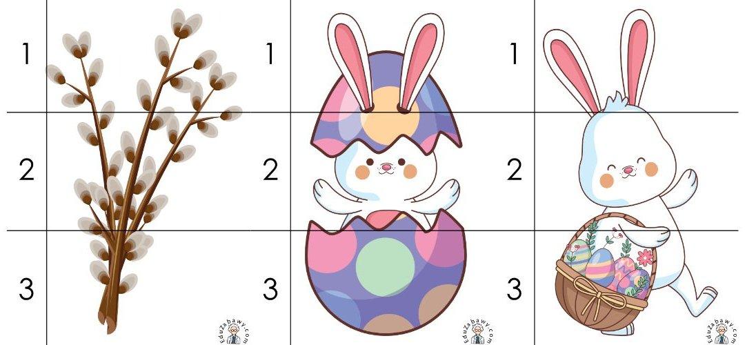 Wielkanoc: Puzzle 3 elementy (10 kart pracy)