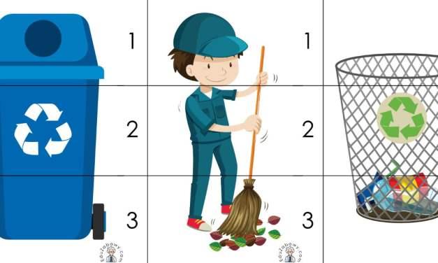 Dzień Ziemi: Puzzle 3 elementy (10 kart pracy)