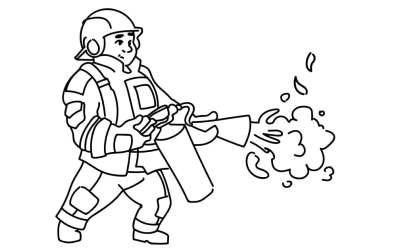 Kolorowanki: strażak, wóz strażacki, hydrant (10 kolorowanek)