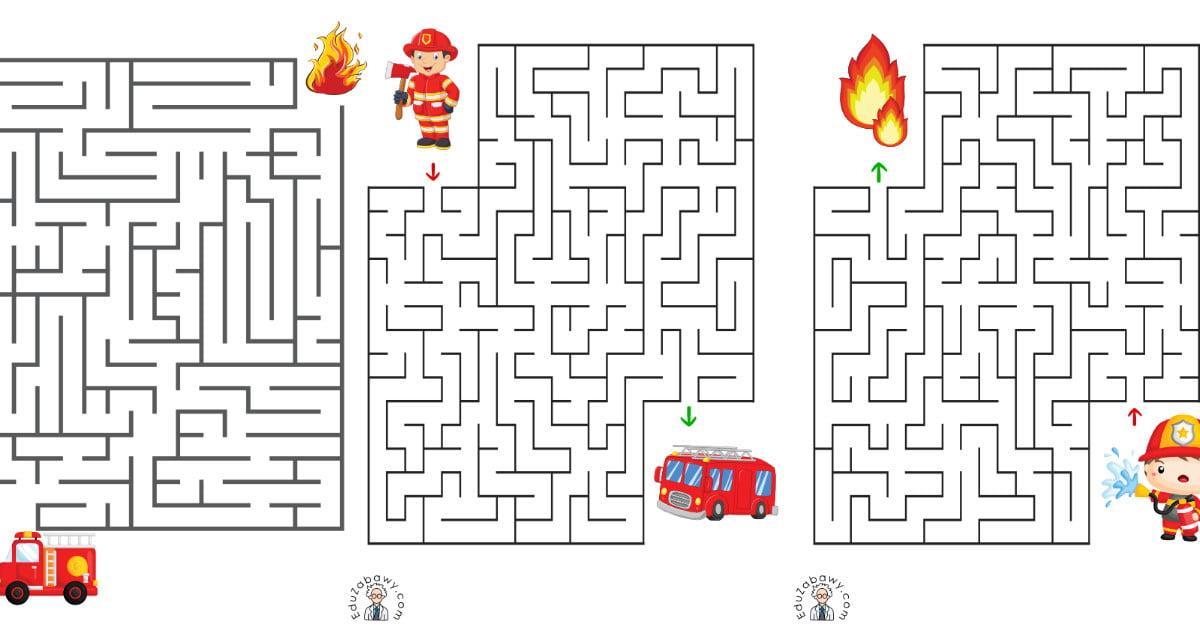 Labirynty: Strażak (10 kart pracy)