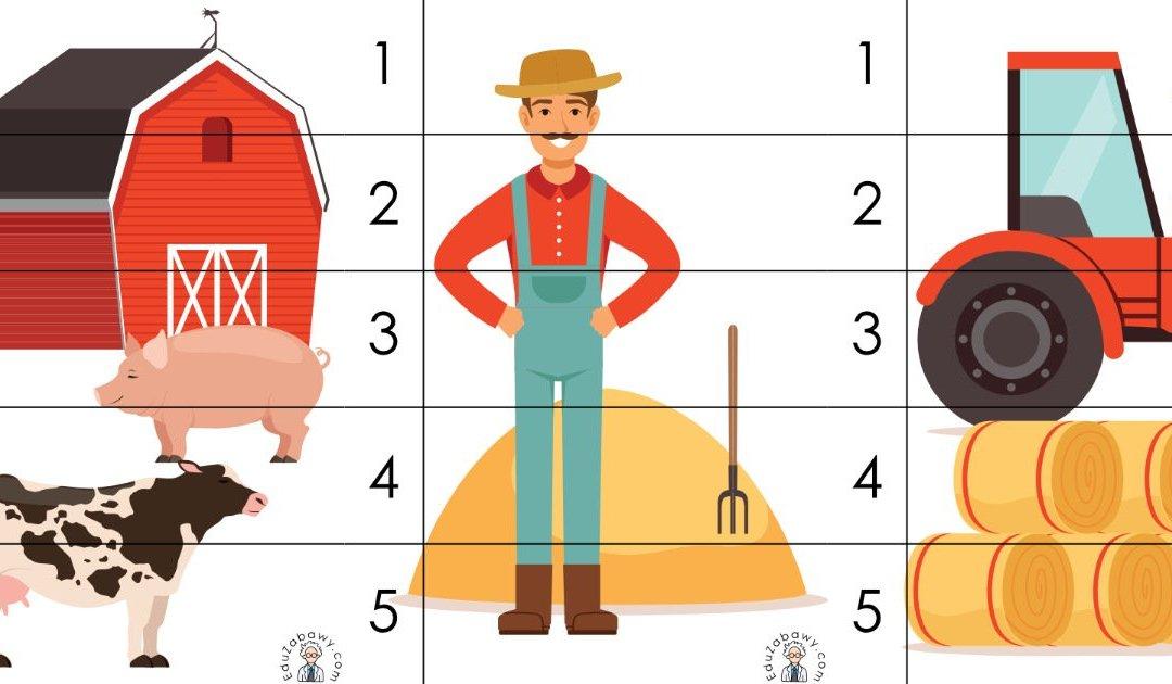 Na wsi: Puzzle 5 elementów (10 kart pracy)
