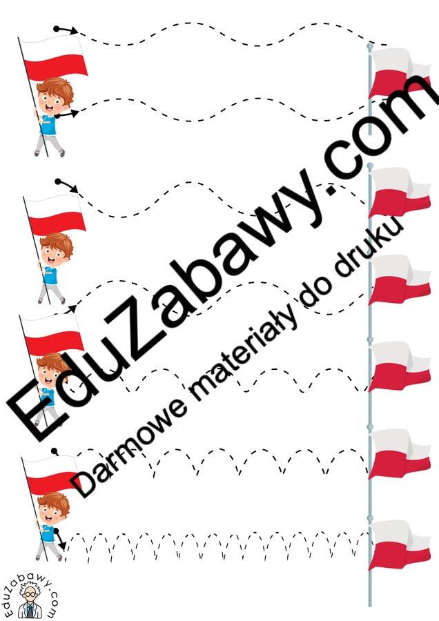 Patriotyczne Szlaczki (10 kart pracy) 3 maja Karty pracy Karty pracy (3 maja) Szlaczki