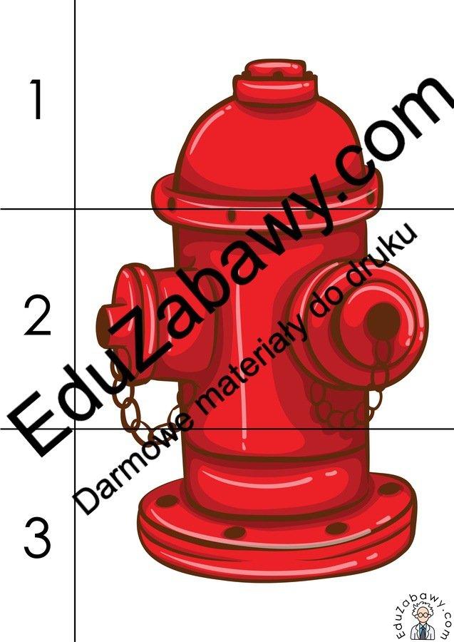 Strażak: Puzzle 3 elementy (10 kart pracy) Dzień Strażaka Karty pracy Karty pracy (Dzień Strażaka) Puzzle