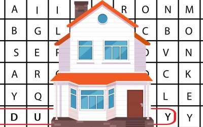 Wykreślanka online: Budowa i pomieszczenia w domu