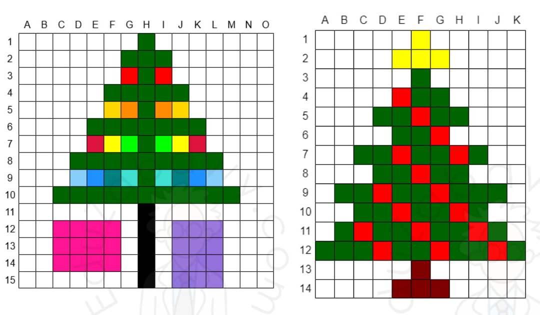Kodowanie / Dyktando graficzne: Choinka