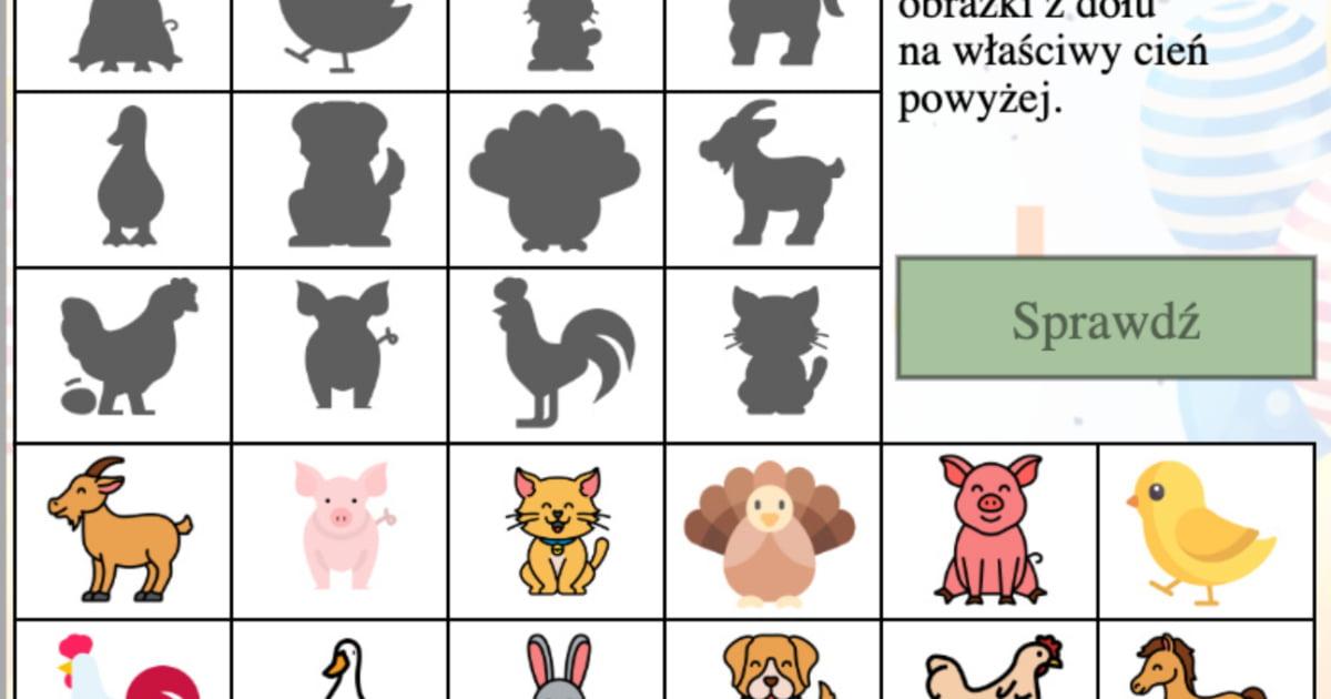 Gra: Dopasuj cienie: Zwierzęta wiejskie