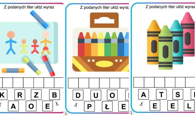 Ułóż wyraz z liter: Kredki i przybory szkolne