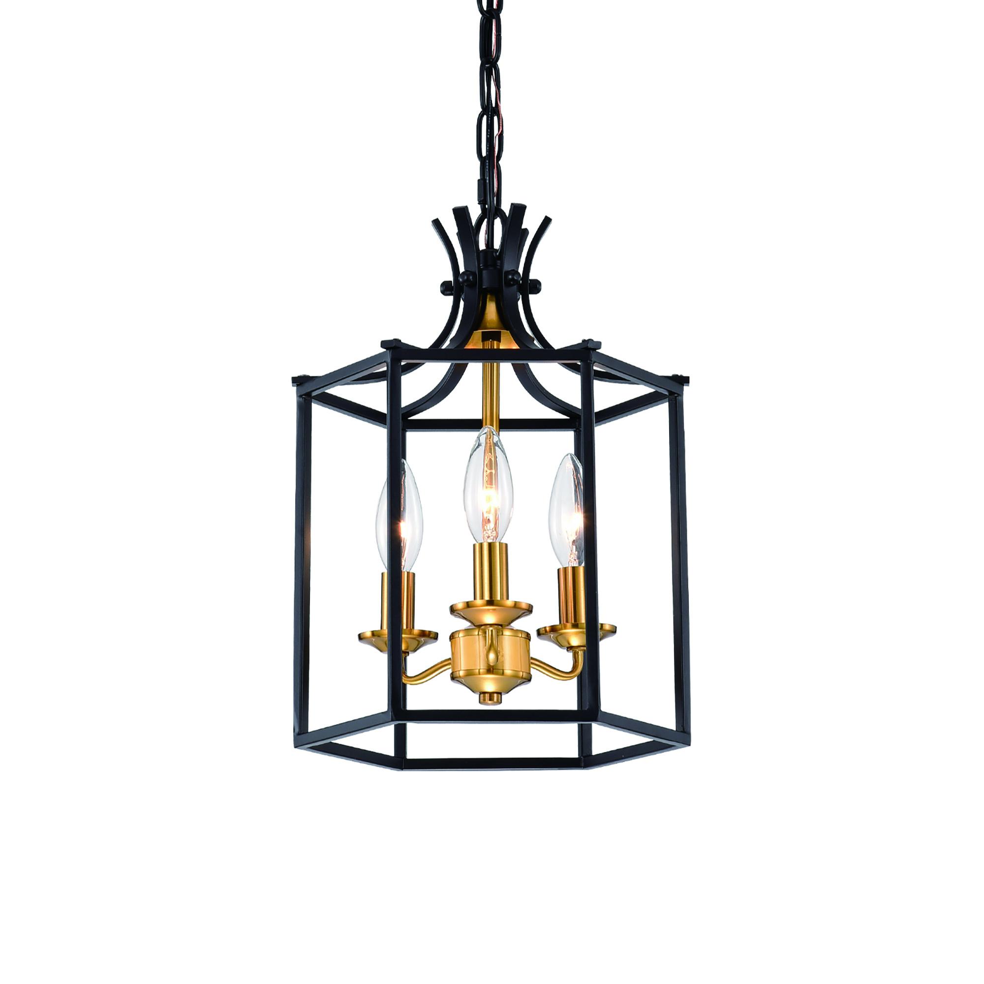 3-Light Black and Antique Gold Lantern Statement
