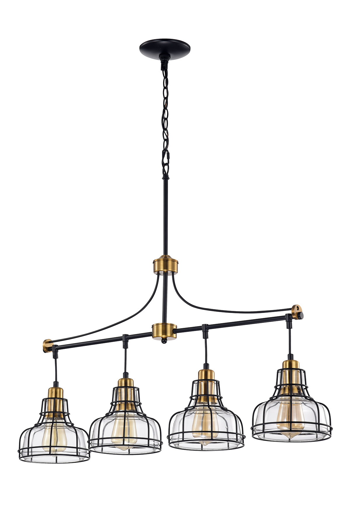 4 Light Black And Antique Gold Linear Chandelier With