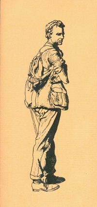 Lino cut of Edward Thomas by Robin Guthrie