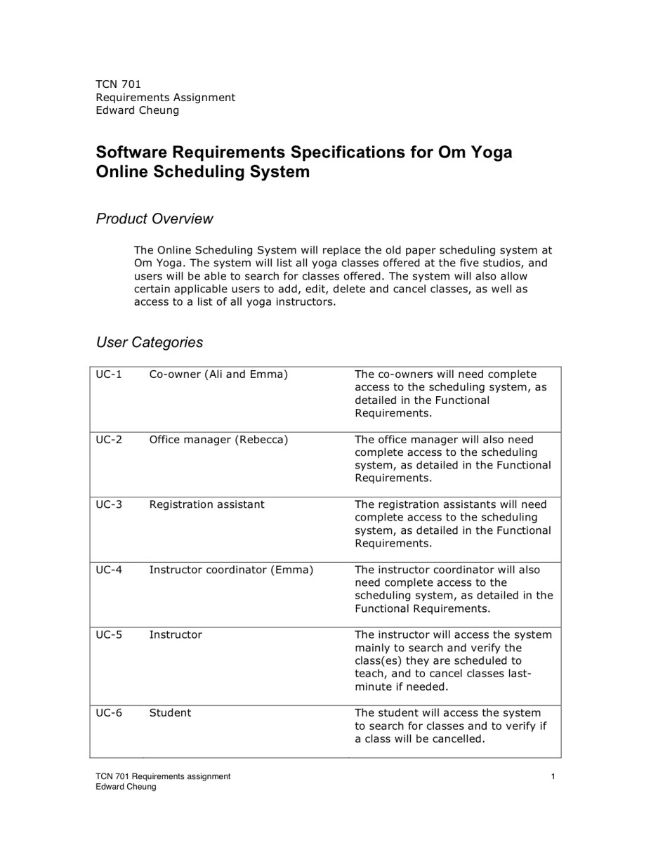 Sample Requirements Document Edward Cheung39s Portfolio