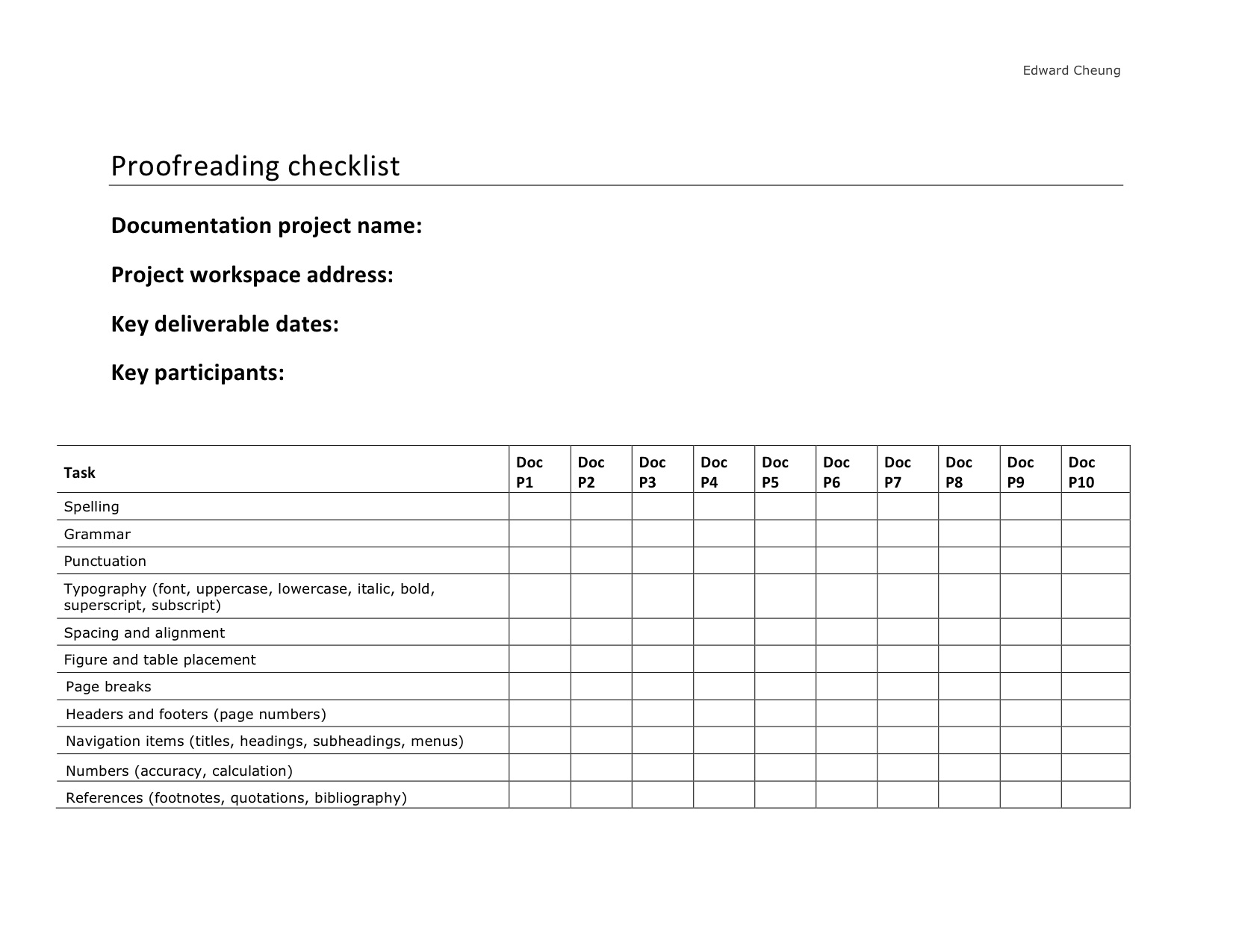 Technical Editing Checklists Edward Cheung's Portfolio