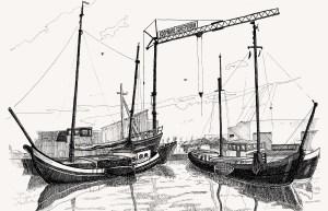 pentekening van de scheepswerf van Koopmans te Harlingen