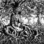 De Omhelzing, inkt en verf op hout, Edward Kobus