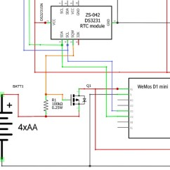 Spot Welder Wiring Diagram Pontiac Montana Radio Using A 1 Ds3231 Real Time Clock Module With Arduino Underwater Snippet From Their Schematic At Https Github Com Mickley Emu Blob Master Documentation Diagrams 20v1 20fritzing 20schematic Pdf