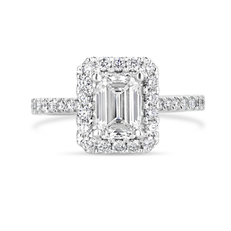 14k White Gold Emerald Cut Diamond Halo Engagement Ring