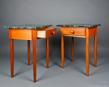 """Matched end tables (22""""x12""""x12"""") made of mahogany and poplar with dovetailed drawers, turned legs inspired by Egyptian columns, and poplar tops with faux serpentine painted finish."""
