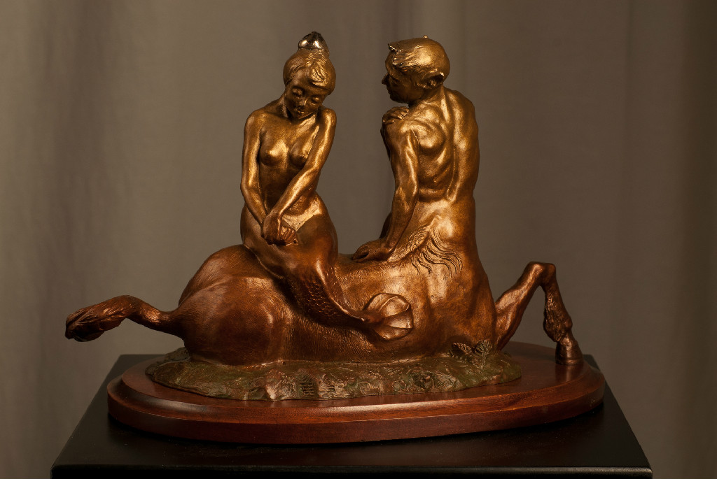 "Centaurus and Mermaid (bronze) 6""x9""x8"""