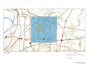 GIS Map of Edwardsville Township with the township shaded in a transparent blue color to mark boundaries. A zoomed out image.
