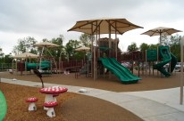 Ground image of the three new slides on the boundless playground.